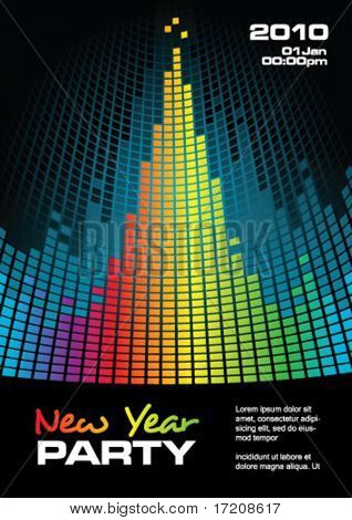New Year party flyer with copy space, vector illustration