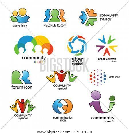 Personas. Comunidad. Comunicación. Elementos de diseño del vector 15