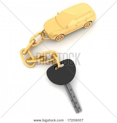 pendant on the keys of the car