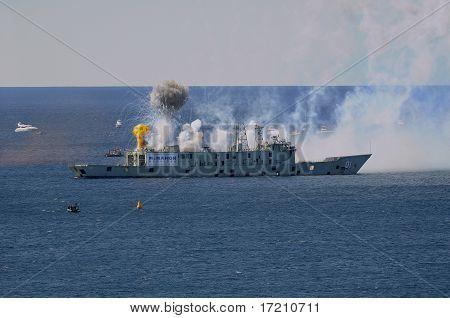 13th April, 2011 Avoca Beach Nsw Australia: Ex Hmas Adelaide Being Sunk Off The Coast