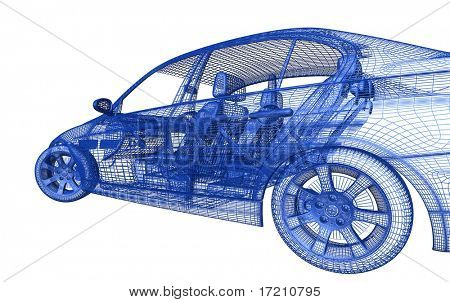 Car model on white background