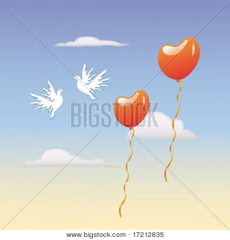 two lovers dove flying in the sky next to the balls in the form of heart