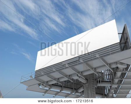 Espacio en blanco gran cartelera sobre el cielo azul, poner tu propio texto aquí