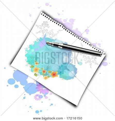 sheet of paper with a pen and blots