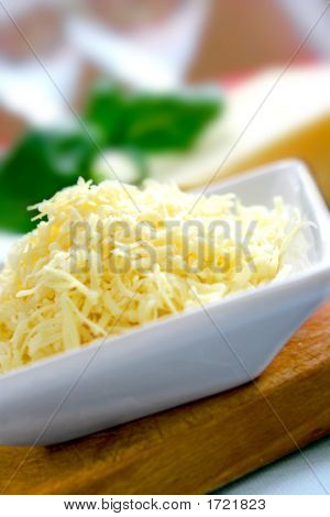 A Bowl Of Grated Mature Cheddar