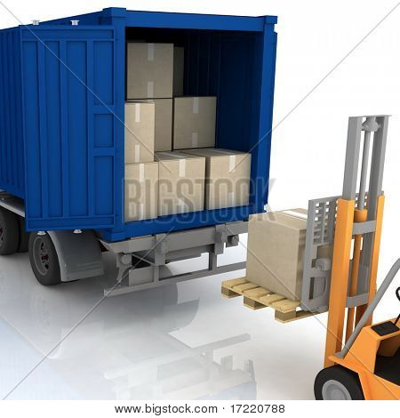Loading of boxes is isolated in a container on a white background