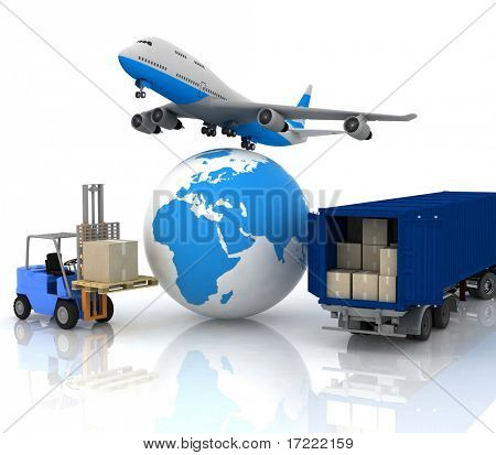 airliner with a globe and autoloader with boxes