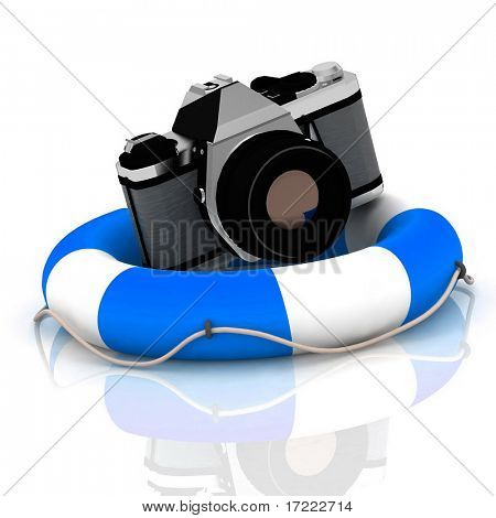 photo cameras at lifeline with reflection