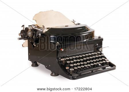 Old Typewriter Isolated On White Background
