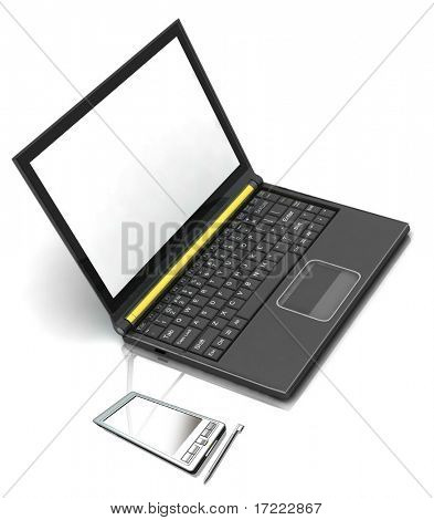 3D rendering of isolated pocket pc and laptop on white background