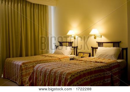 Two Single Bed In A Hotel Suite Room