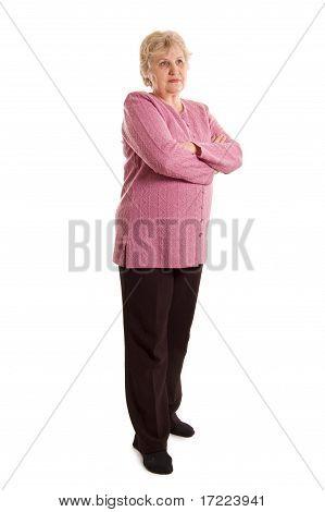 Die ältere Frau, die isoliert auf weißem Hintergrund