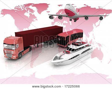 Tipos de transporte en un mapa del fondo del mundo