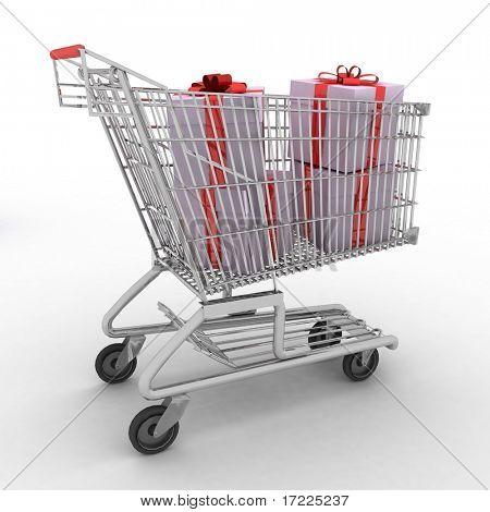 carrinho de compras cheio de presentes no fundo branco