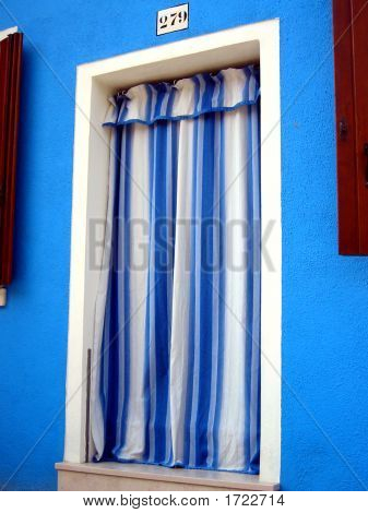 Blue And White Door Curtain, On Burano Island, Venice , Italy