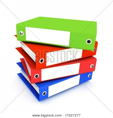 folders for papers on a white background