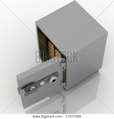 Open safe on white background