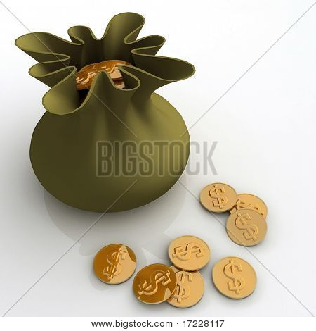 sack with dollars money on pile of golden coins