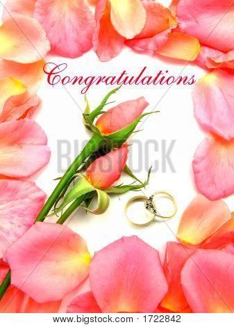 Wedding Congratulations Pink Roses Petals
