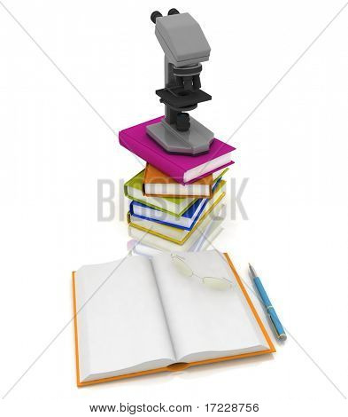 books with a microscope and glasses on white background