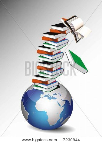 Pile of books and globe