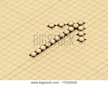 balls ones forming an arrow on a background gold cubes