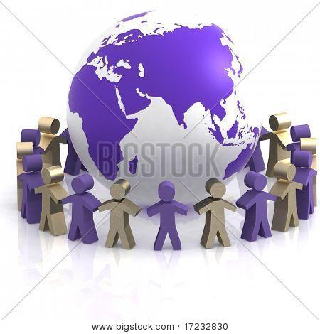 World partnership. 3d image isolated on white background.