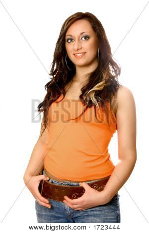 Beautiful Woman In Orang Top, Hand In Pocket