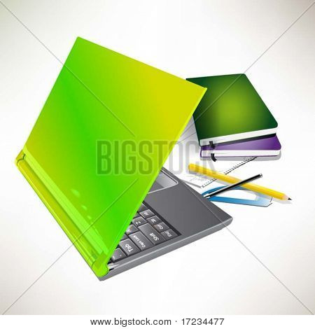 Laptop, books and other instruments for office work. Vector illustration