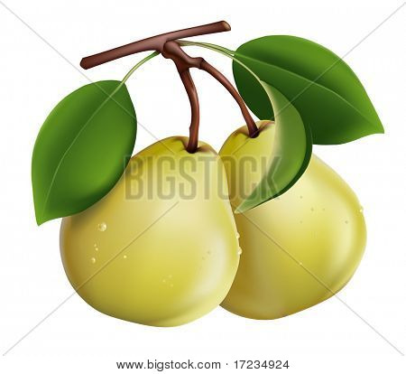 Pear with green leaves and drops of water