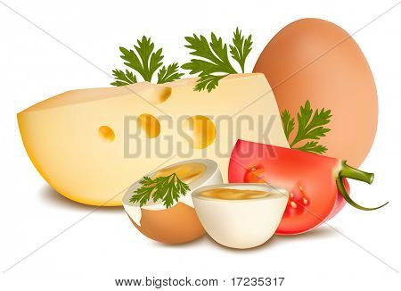 Vector illustration. Cheese with tomato and boiled egg.