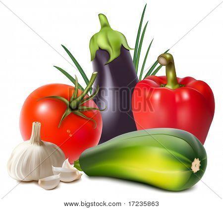 Fotorealistische Vektor. Bunte frische Gruppe von Gemüse.
