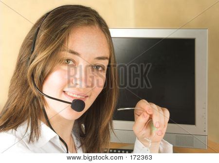 Friendly Customer Services Woman With Glasses