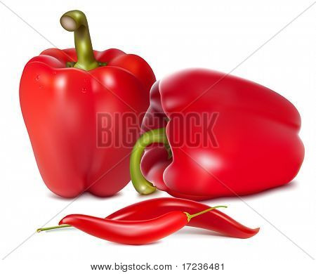 Photo-realistic vector illustration of red sweet peppers with drops of water.
