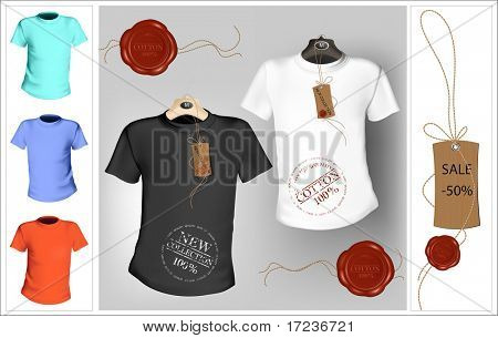 Vector illustration. T-shirt design template. Black, white and color. Tag with sealing wax.