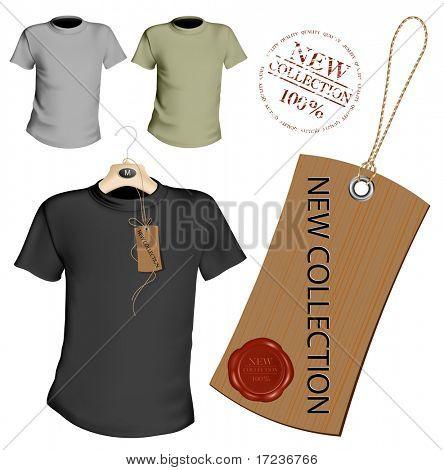 Ilustración del vector. Plantilla de diseño de camiseta. Negro y gris. Etiqueta con lacre.