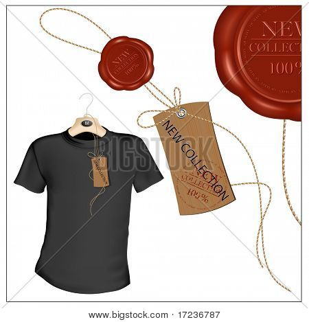 Vector illustration. T-shirt design template. Tag with sealing wax.