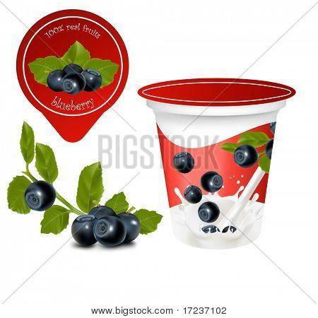 Vektor-Illustration. Hintergrund für das Design der Verpackung Joghurt mit fotorealistischen Vektor von Cherry.