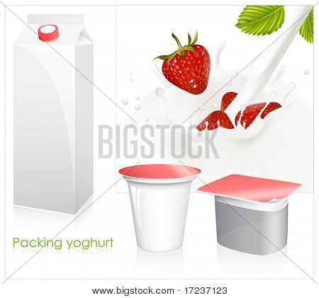 Vector set of blank milk and yoghurt packs. Red ripe  strawberry falling into the milky splash.