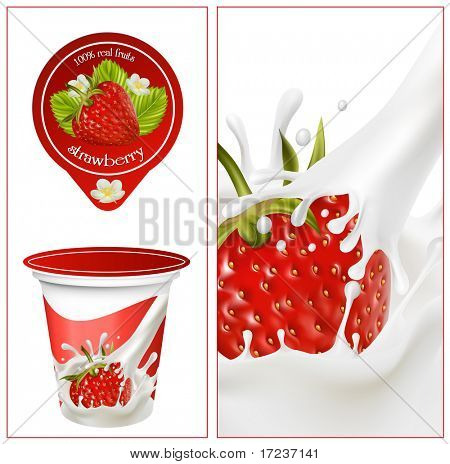 Vector illustration. Background for design of packing yoghurt with photo-realistic vector of strawberry.