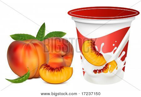 Vector illustration. Ripe  peaches falling into the milky splash. Background for design of packing yoghurt with photo-realistic vector of peaches.