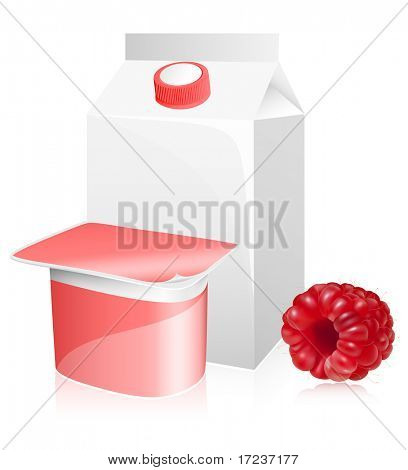 Blank milk and yoghurt packs with photo-realistic ripe raspberry.