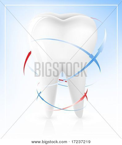 Vector illustration of white tooth.