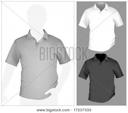 Vektor. Herren Polo Shirt Vorlage mit menschlichen Körper-Silhouette.