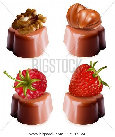 Photo-realistic vector illustration of chocolates with nuts and berries.