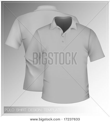 Vector. Men's polo shirt design template.