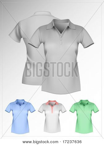 Vector illustration. Women's polo shirt template. Gray and color. Front and back. More clothing designs in my portfolio.