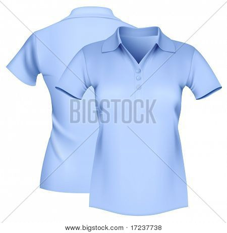 Photo-realistic vector illustration. Women's polo shirt template.
