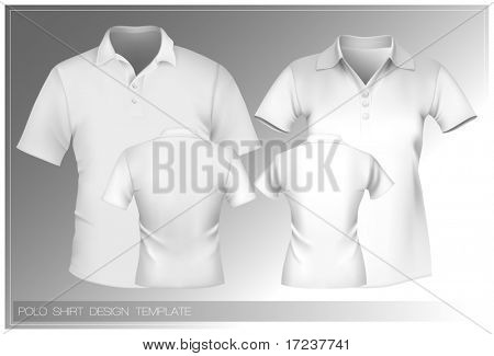 Vector illustration. Polo shirt design template (men and women).