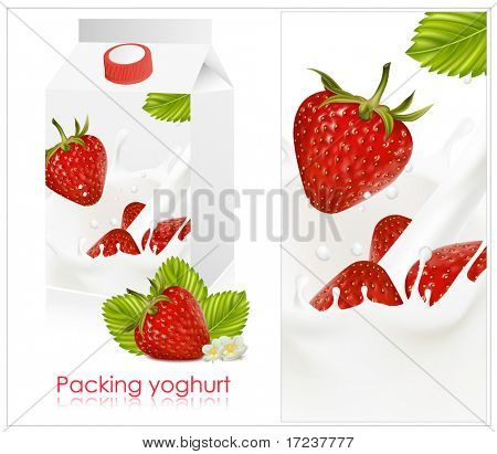 Vector illustration. Background for design of packing yogurt with photo-realistic vector of strawberry.